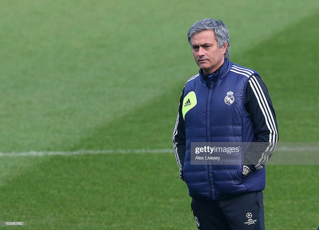 Jose Mourinho the coach of Real Madrid looks on during a training session at Etihad Stadium on March 4, 2013 in Manchester, England.