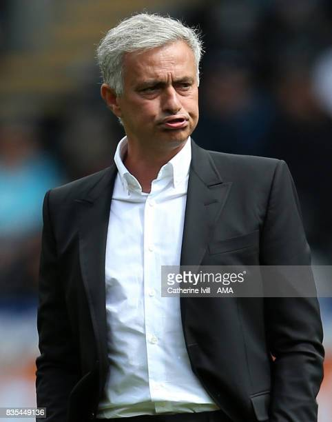 Jose Mourinho the head coach / manager of Manchester United pulls a face before the Premier League match between Swansea City and Manchester United...