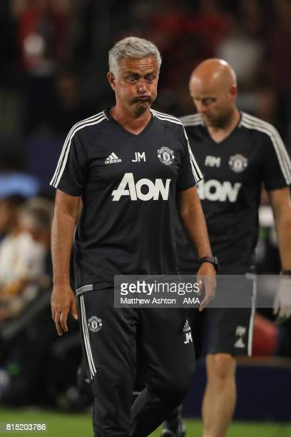 Jose Mourinho the head coach / manager of Manchester United reacts during to the friendly fixture between LA Galaxy and Manchester United at StubHub...