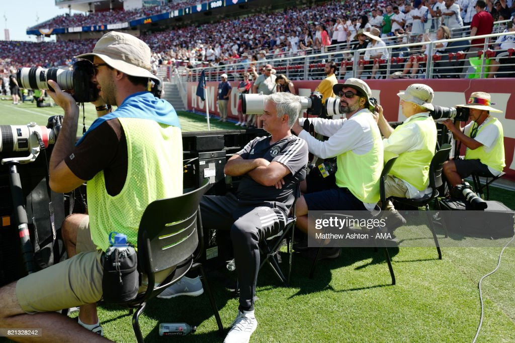 Jose Mourinho the head coach / manager of Manchester United sits with the photographers during the end of game penalty shootout during the International Champions Cup 2017 match between Real Madrid v Manchester United at Levi'a Stadium on July 23, 2017 in Santa Clara, California.