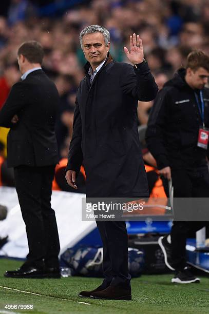 Jose Mourinho the manager of Chelsea gestures during the UEFA Champions League Group G match between Chelsea FC and FC Dynamo Kyiv at Stamford Bridge...