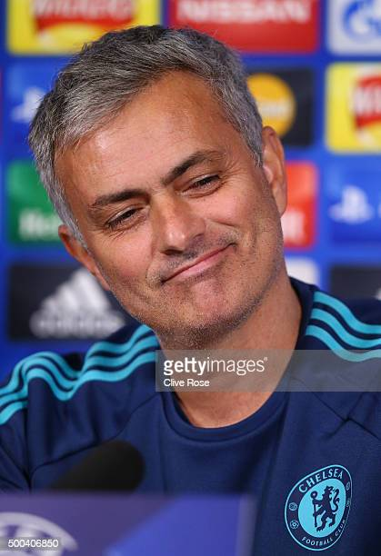 Jose Mourinho the manager of Chelsea speaks to the media during a press conference at the Chelsea Training Ground on December 8 2015 in Cobham England