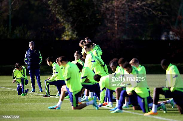 Jose Mourinho the manager of Chelsea watches over the Chelsea training session ahead of the UEFA Champions League Group F match against NK Maribor at...