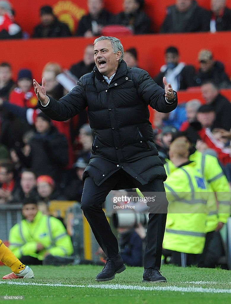 Jose Mourinho the Manager of Man Utd during the Premier League match between Manchester United and Arsenal at Old Trafford on November 19, 2016 in Manchester, England.