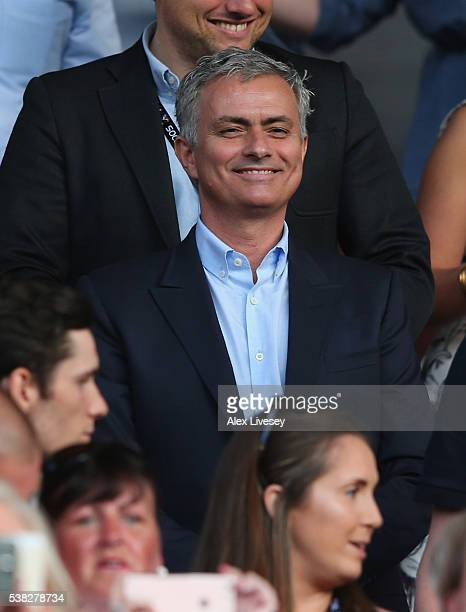 Jose Mourinho the manager of Manchester United looks on during the Soccer Aid 2016 match in aid of UNICEF at Old Trafford on June 5 2016 in...