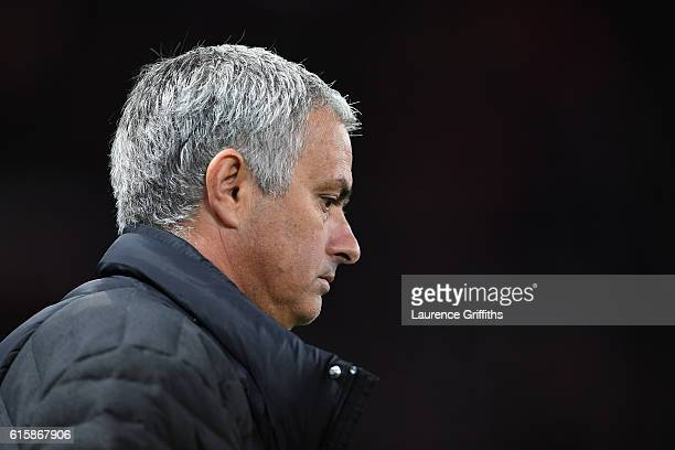 Jose Mourinho the manager of Manchester United looks on during the UEFA Europa League Group A match between Manchester United FC and Fenerbahce SK at...