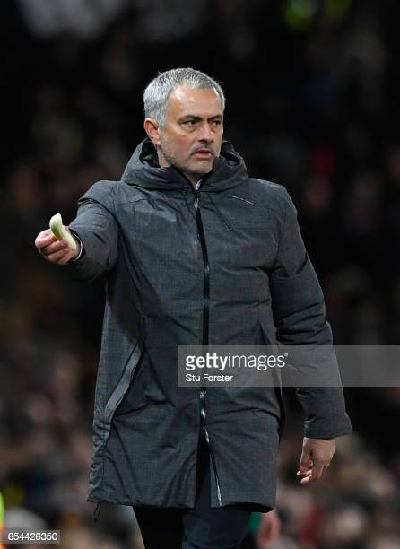 Jose Mourinho with banana during the UEFA Europa League Round of 16 second leg match between Manchester United and FK Rostov at Old Trafford on March...