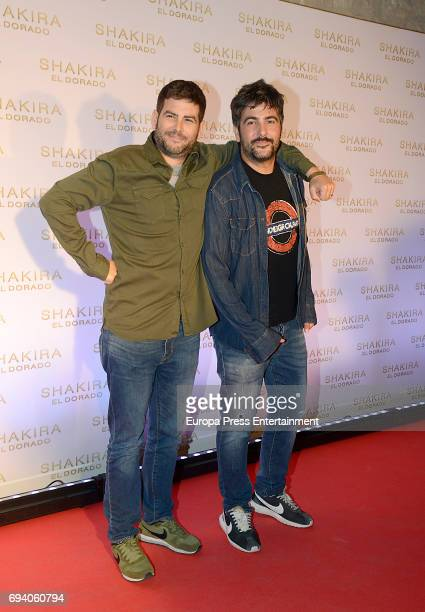 Jose Munoz and David Munoz of Estopa music band attend the photocall for the new Shakira album 'El Dorado' at the Convent of Angels on June 8 2017 in...
