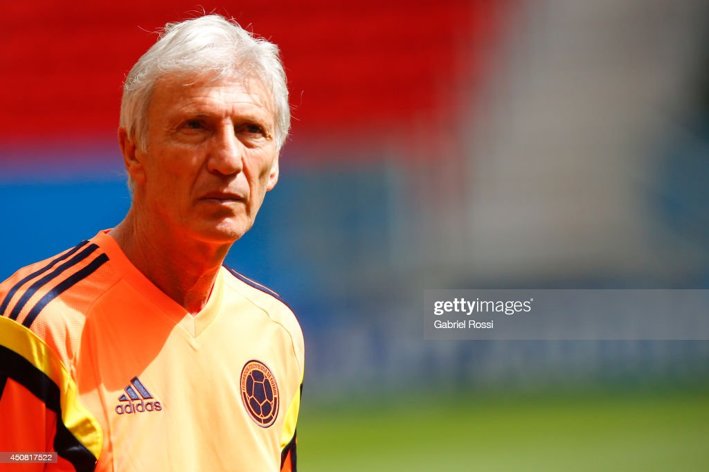 Jose Nestor Pekerman, head coach of Colombia, looks on during the training session ahead of the Group C match between Colombia and Cote D'Ivoire as part of FIFA World Cup 2014 Brazil at Estadio Nacional on June 18, 2014 in Brasilia, Brazil.
