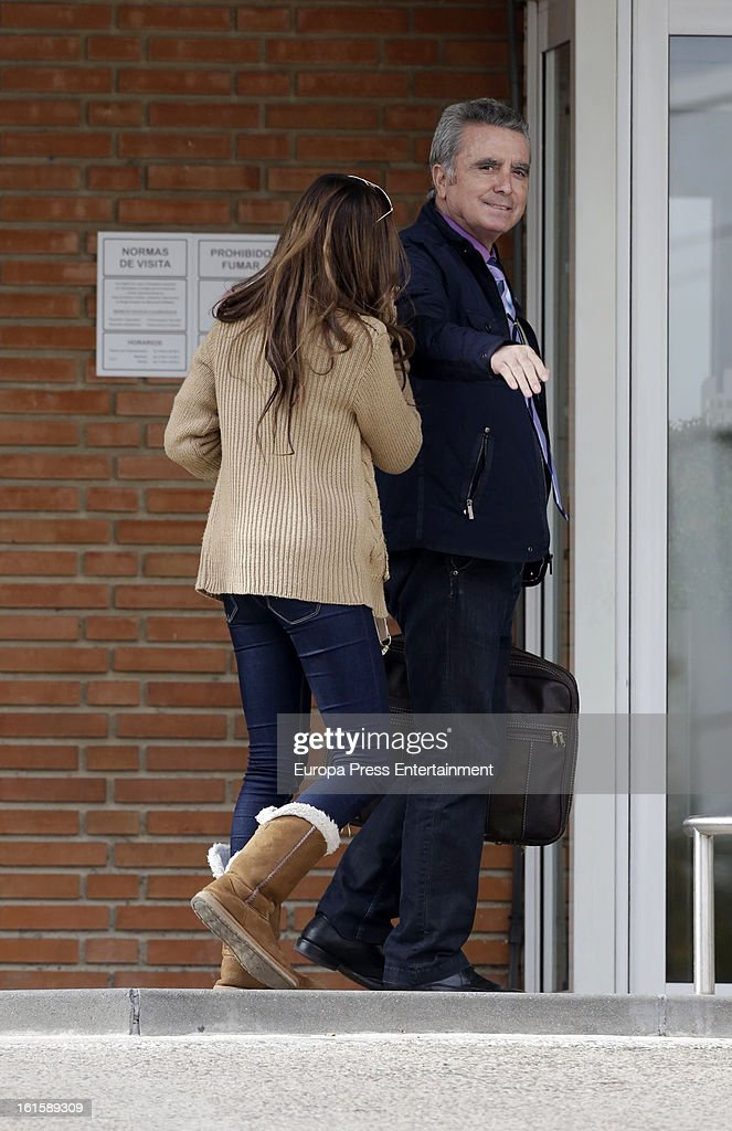 Jose Ortega Cano and his daughter Gloria Camila Ortega are seen after his girlfriend Ana Maria Aldon has a newborn baby at Ruber Internatinal Hospital on February 9, 2013 in Madrid, Spain.