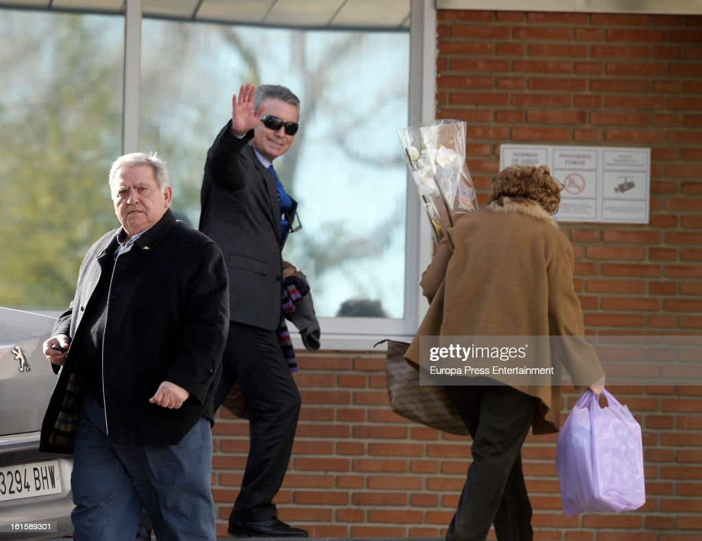 Jose Ortega Cano (C) and Paco Ortega Cano (L) are seen after Jose's girlfriend Ana Maria Aldon has a newborn baby at Ruber Internatinal Hospital on February 9, 2013 in Madrid, Spain.