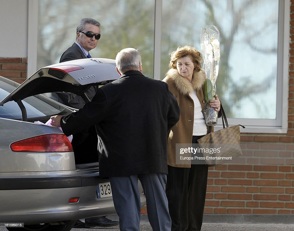 Jose Ortega Cano (L) and Paco Ortega Cano (C) are seen after Jose's girlfriend Ana Maria Aldon has a newborn baby at Ruber Internatinal Hospital on February 9, 2013 in Madrid, Spain.