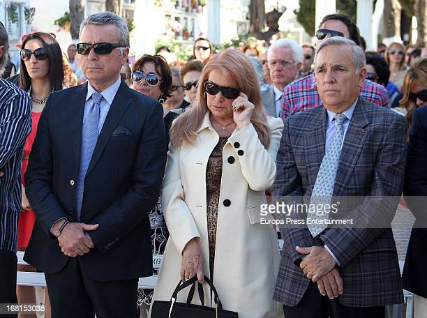 Jose Ortega Cano Gloria Mohedano and Jose Antonio Rodriguez attend the mass for Rocio Jurado in her International Day at San Jose Graveyard on May 4...