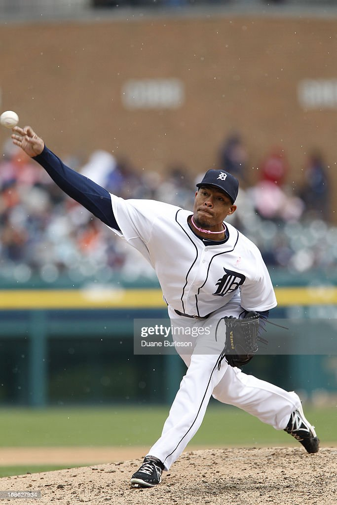 Jose Ortega #56 of the Detroit Tigers pitches against the Cleveland Indians in the seventh inning at Comerica Park on May 12, 2013 in Detroit, Michigan.