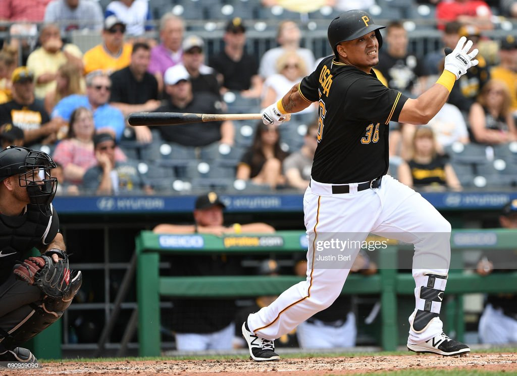 Jose Osuna #36 of the Pittsburgh Pirates hits an RBI double to right field in the fifth inning during the game against the Arizona Diamondbacks at PNC Park on May 31, 2017 in Pittsburgh, Pennsylvania.