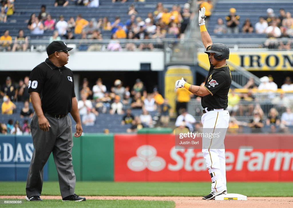 Jose Osuna #36 of the Pittsburgh Pirates reacts after hitting an RBI double to right field in the fifth inning during the game against the Arizona Diamondbacks at PNC Park on May 31, 2017 in Pittsburgh, Pennsylvania.