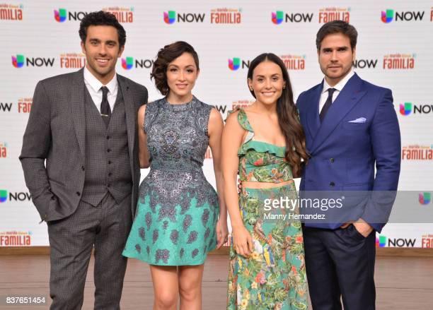 Jose Pablo Minor Laura Vignatti Zuria Vega and Daniel Arenas at the Press Conference for new soap opera Mi Marido Tiene Familia at Univision Studios...