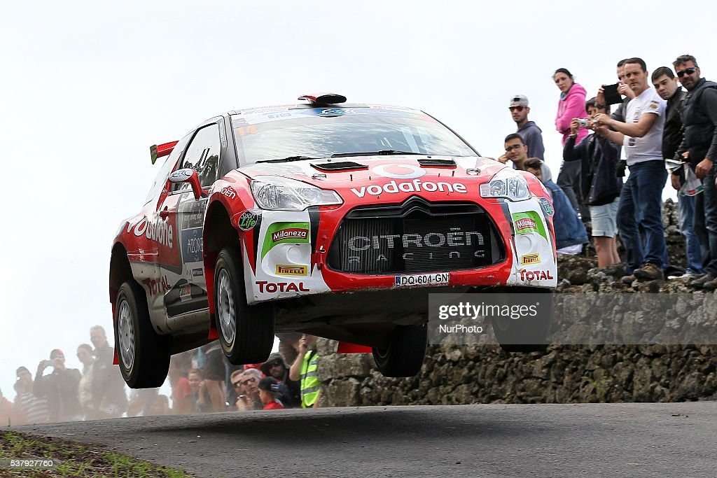 Jose Pedro Fontes and Ines Ponte in Citroen DS3 R5 of Citroen Vodafone Team during the SS1 Batalha of the FIA ERC Azores Airlines Rallye 2016 in...