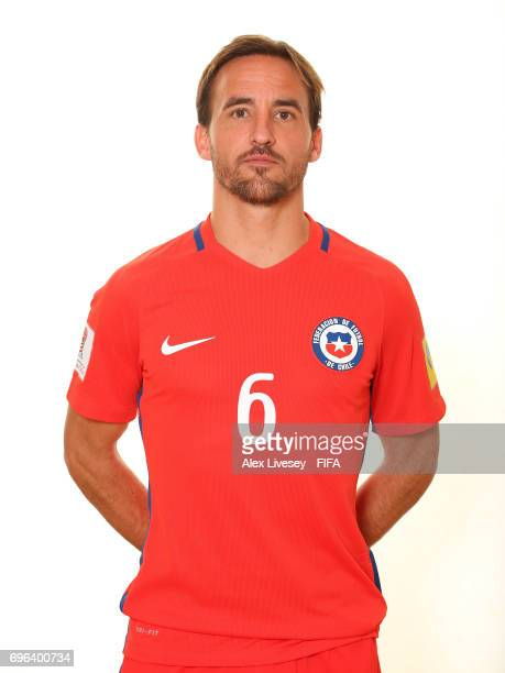 Jose Pedro Fuenzalida of Chile during a portrait session ahead of the FIFA Confederations Cup Russia 2017 at the Crowne Plaza Hotel on June 15 2017...