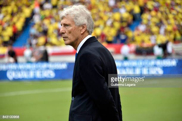 Jose Pekerman coach of Colombia gestures during a match between Colombia and Brazil as part of FIFA 2018 World Cup Qualifiers at Metropolitano...