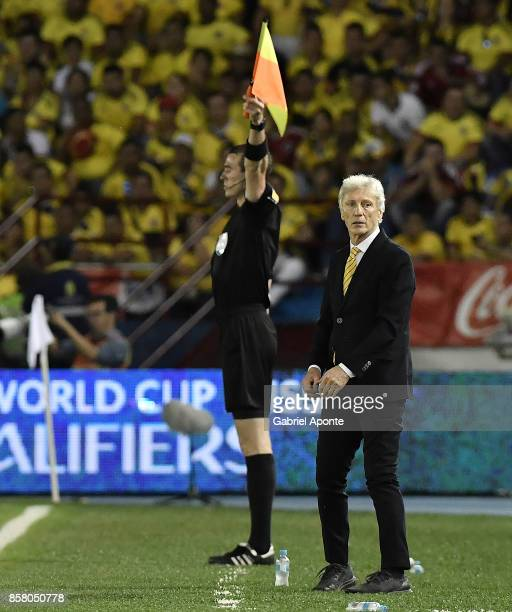 Jose Pekerman coach of Colombia looks on during a match between Colombia and Paraguay as part of FIFA 2018 World Cup Qualifiers at Metropolitano...