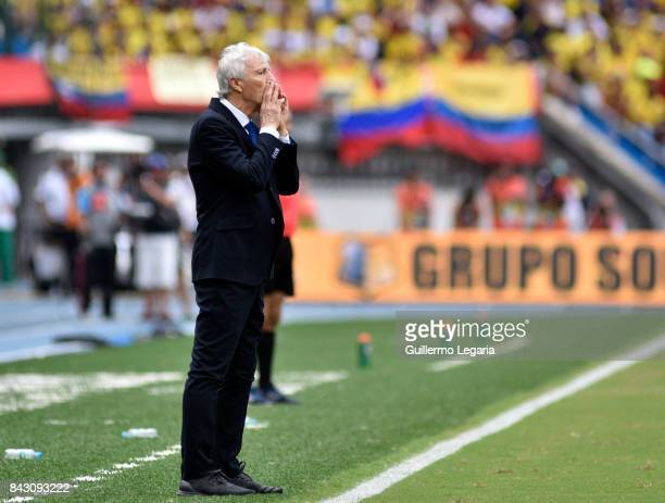 Jose Pekerman coach of Colombia shouts instructions to his players during a match between Colombia and Brazil as part of FIFA 2018 World Cup...
