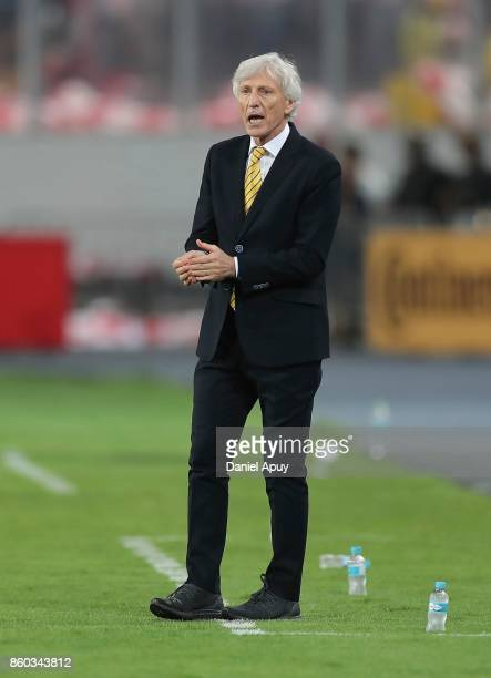 Jose Pekerman coach of Colombia shouts instructions to his players during a match between Peru and Colombia as part of FIFA 2018 World Cup Qualifiers...