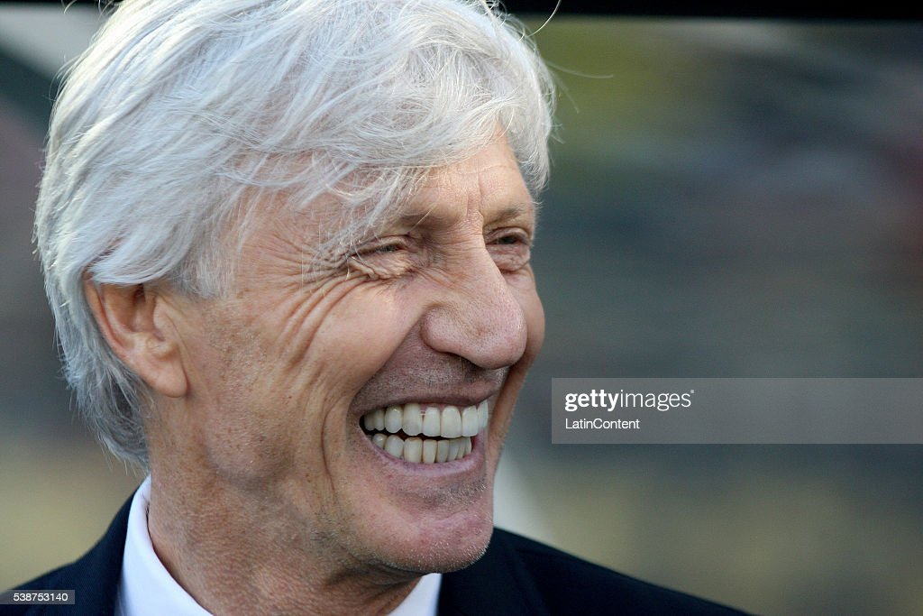 <a gi-track='captionPersonalityLinkClicked' href=/galleries/search?phrase=Jose+Pekerman&family=editorial&specificpeople=242856 ng-click='$event.stopPropagation()'>Jose Pekerman</a> coach of Colombia smiles during a group A match between Colombia and Paraguay at Rose Bowl Stadium as part of Copa America Centenario US 2016 on June 07, 2016 in Pasadena, California, US.