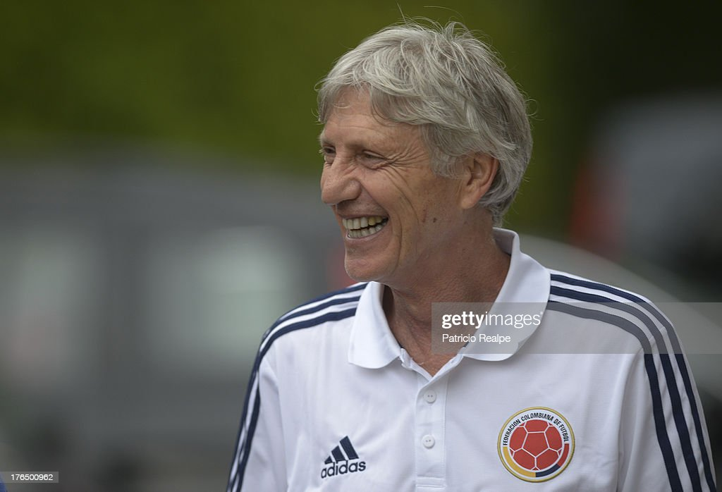 <a gi-track='captionPersonalityLinkClicked' href=/galleries/search?phrase=Jose+Pekerman&family=editorial&specificpeople=242856 ng-click='$event.stopPropagation()'>Jose Pekerman</a>, Head Coach of Colombia smiles after a press conference on August 13, 2013 in Barcelona, Spain.