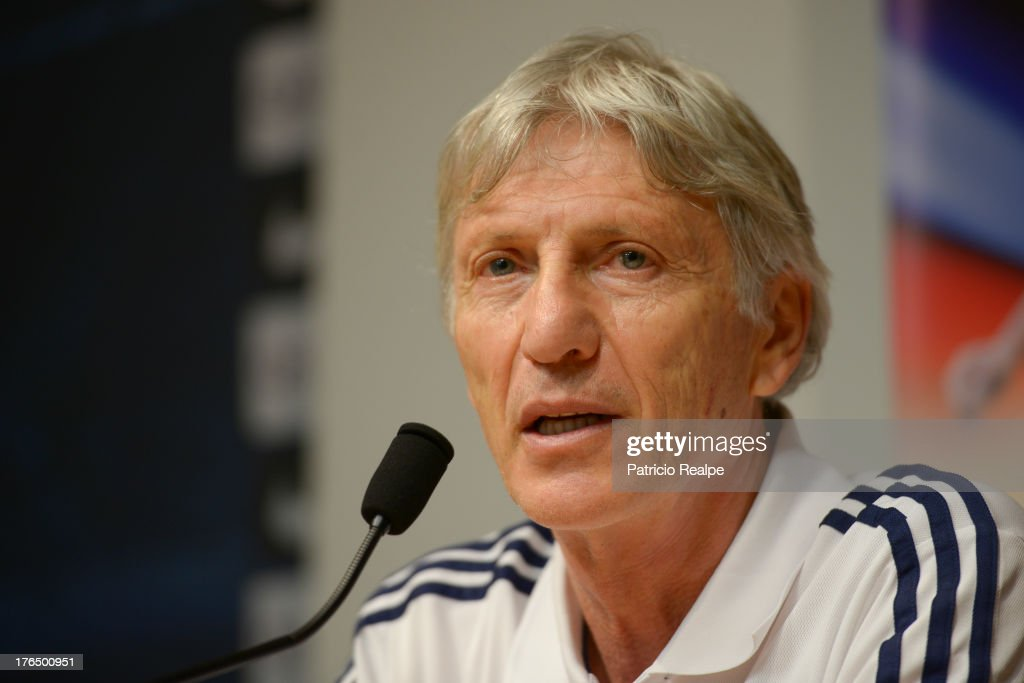 Jose Pekerman, Head Coach of Colombia speaks during a press conference on August 13, 2013 in Barcelona, Spain.