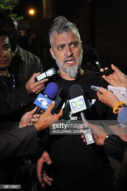 Jose Pelazzo Argentine's musician Charly Garcia's producer talks to the press outside a clinic in Bogota Colombia on November 15 after Garcia had had...
