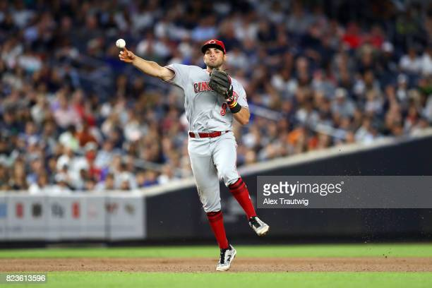 Jose Peraza of the Cincinnati Reds throws to first base during the game against the New York Yankees at Yankee Stadium on Tuesday July 2017 in the...
