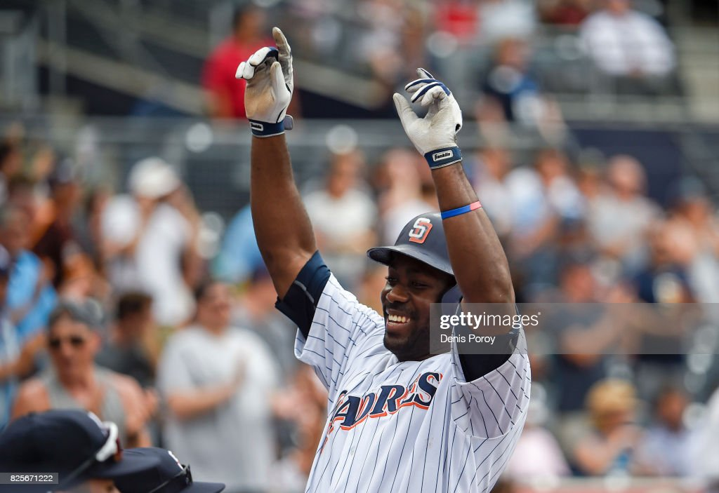 Jose Pirela #2 of the San Diego Padres celebrates after hitting a two-run home run during the fourth inning of a baseball game against the Minnesota Twins at PETCO Park on August 2, 2017 in San Diego, California.