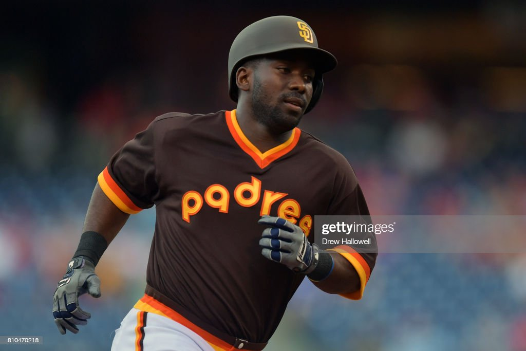 Jose Pirela #2 of the San Diego Padres rounds the bases after hitting a home run in the first inning against the Philadelphia Phillies at Citizens Bank Park on July 7, 2017 in Philadelphia, Pennsylvania.
