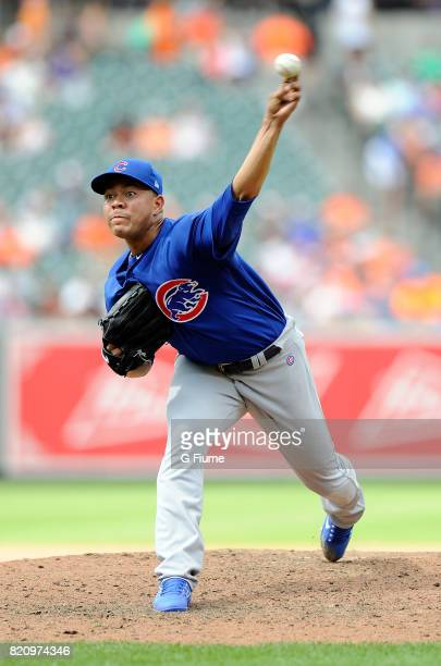 Jose Quintana of the Chicago Cubs pitches against the Baltimore Orioles at Oriole Park at Camden Yards on July 16 2017 in Baltimore Maryland