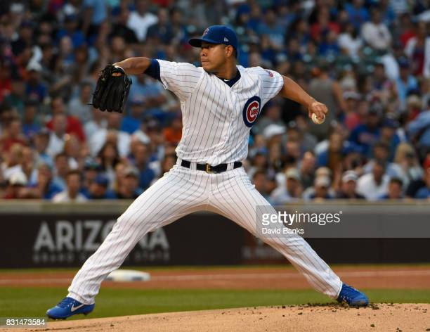 Jose Quintana of the Chicago Cubs pitches against the Cincinnati Reds during the first inning on August 14 2017 at Wrigley Field in Chicago Illinois