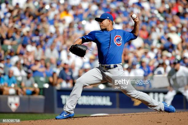 Jose Quintana of the Chicago Cubs pitches against the Milwaukee Brewers during the first inning at Miller Park on September 24 2017 in Milwaukee...