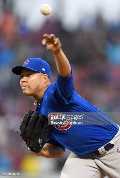 Jose Quintana of the Chicago Cubs pitches against the San Francisco Giants in the bottom of the first inning at ATT Park on August 8 2017 in San...