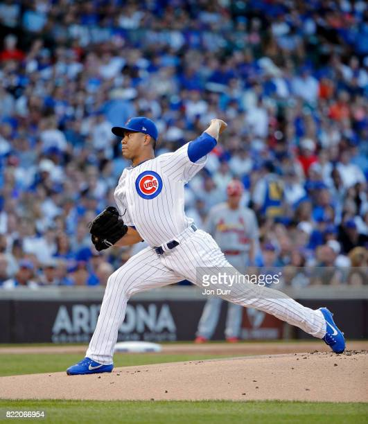 Jose Quintana of the Chicago Cubs pitches against the St Louis Cardinals during the first inning at Wrigley Field on July 23 2017 in Chicago Illinois...