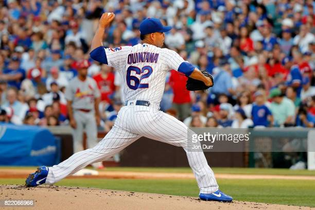 Jose Quintana of the Chicago Cubs pitches against the St Louis Cardinals during the second inning at Wrigley Field on July 23 2017 in Chicago...