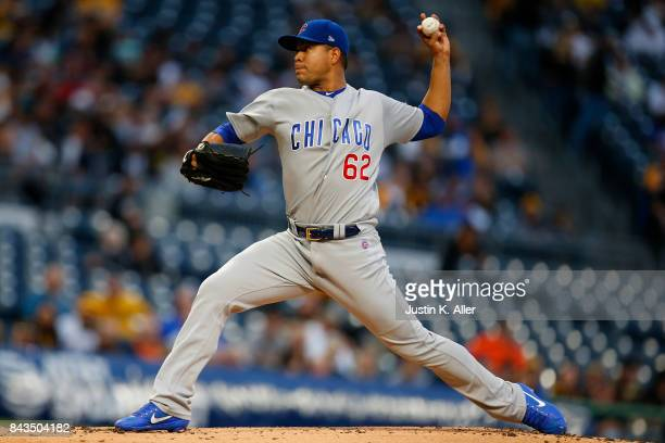 Jose Quintana of the Chicago Cubs pitches in the first inning against the Pittsburgh Pirates at PNC Park on September 6 2017 in Pittsburgh...