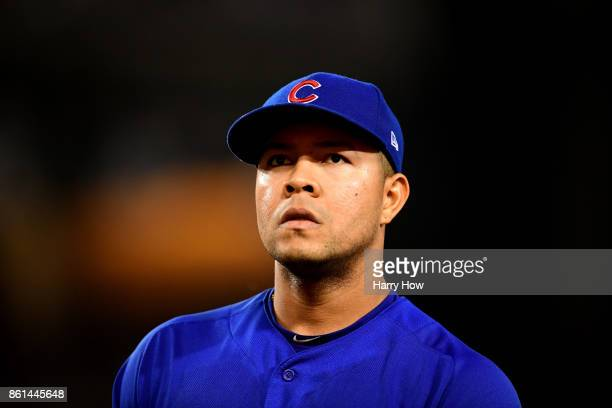 Jose Quintana of the Chicago Cubs reacts after the end of the fifth inning against the Los Angeles Dodgers in Game One of the National League...