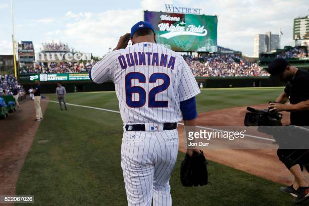 Jose Quintana of the Chicago Cubs walks on to the field to warmup before their game against the St Louis Cardinals at Wrigley Field on July 23 2017...