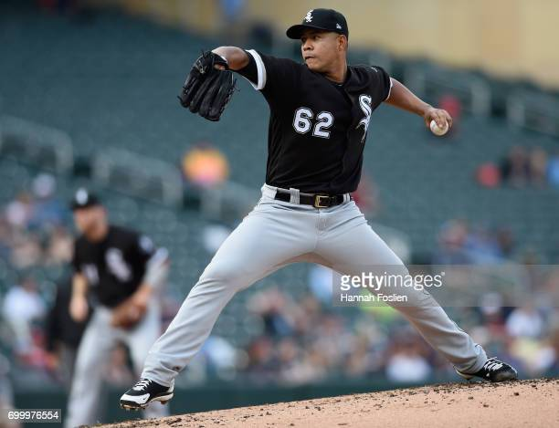 Jose Quintana of the Chicago White Sox delivers a pitch against the Minnesota Twins during the first inning of the game on June 22 2017 at Target...