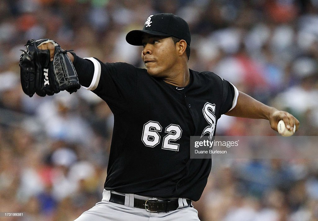 Jose Quintana #62 of the Chicago White Sox pitches against the Detroit Tigers in the fourth inning at Comerica Park on July 9, 2013 in Detroit, Michigan. Quintana recorded his fourth win of the season in a 11-4 victory over the Tigers.