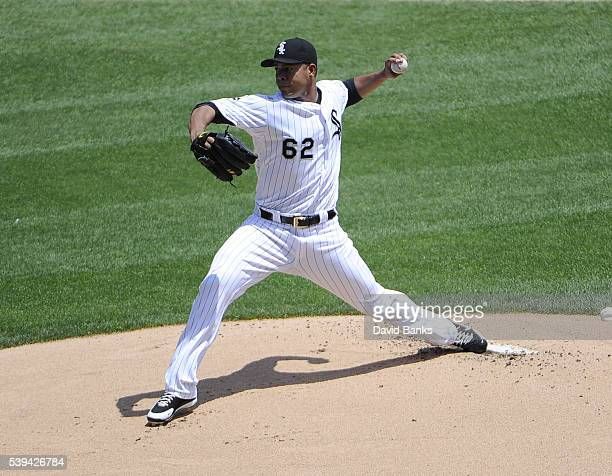Jose Quintana of the Chicago White Sox pitches against the Kansas City Royals during the first inning on June 11 2016 at U S Cellular Field in...
