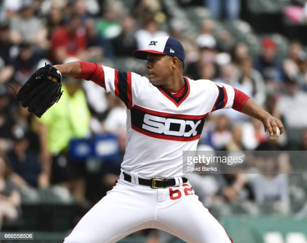 Jose Quintana of the Chicago White Sox pitches against the Minnesota Twins during the first inning on April 9 2017 at Guaranteed Rate Field in...