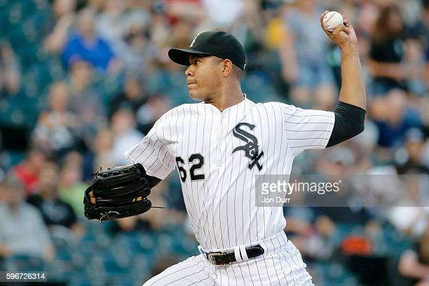 Jose Quintana of the Chicago White Sox pitches against the Seattle Mariners during the first inning at US Cellular Field on August 27 2016 in Chicago...