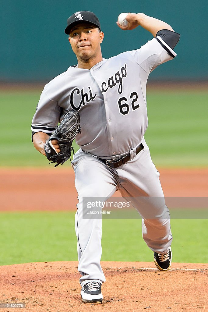 Jose Quintana #62 of the Chicago White Sox pitches during the first inning against the Cleveland Indians at Progressive Field on September 6, 2014 in Cleveland, Ohio.