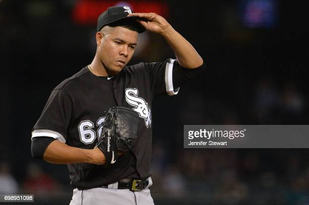 Jose Quintana of the Chicago White Sox reacts while on the mound during the MLB game against the Arizona Diamondbacks at Chase Field on May 24 2017...